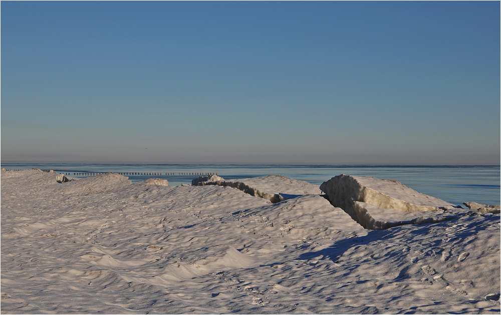 Eisland am Ostseestrand