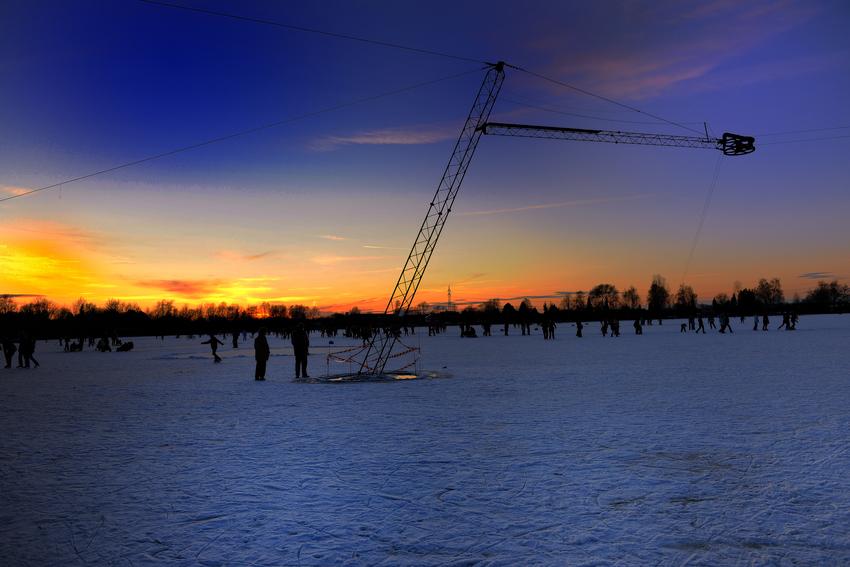 Eislauf bis Sonnenuntergang