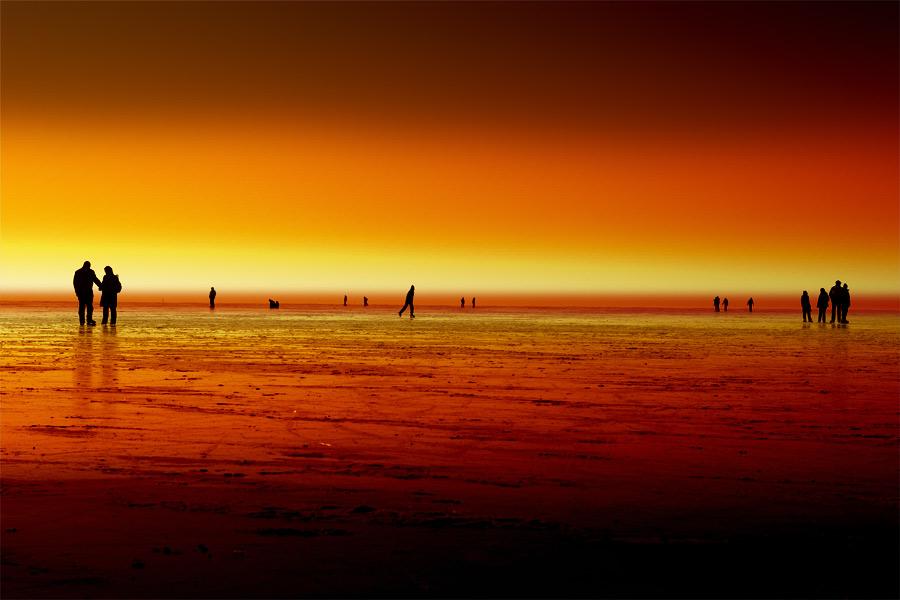 Eislauf im Sonnenuntergang