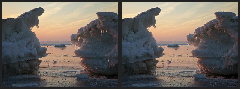 Eiszeit auf dem Bodden (3d - Kreuzblick)