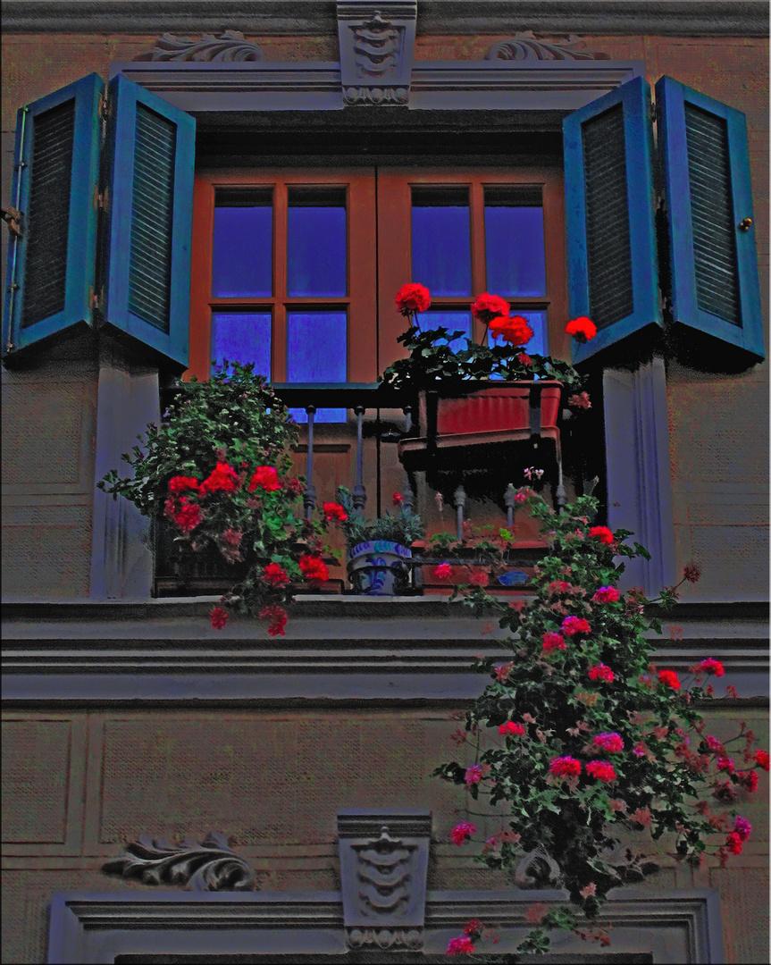 El balcón de los geránios