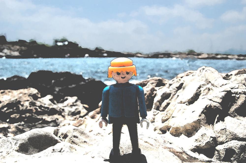 el clip en la playa