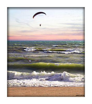 El mar picado, la gaviota y el parapente