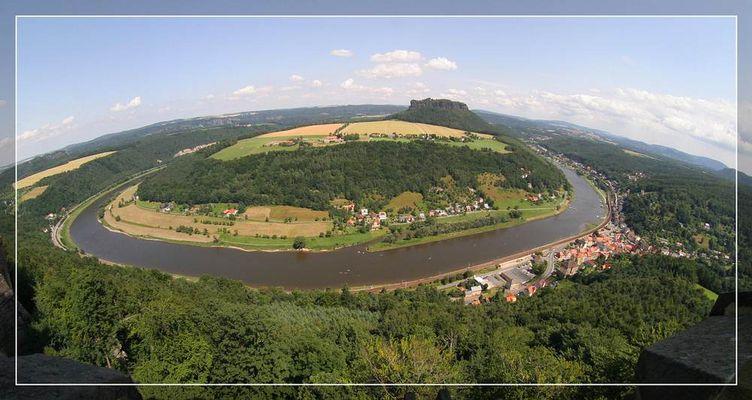 Elbschleife von der Festung Königstein aus gesehen