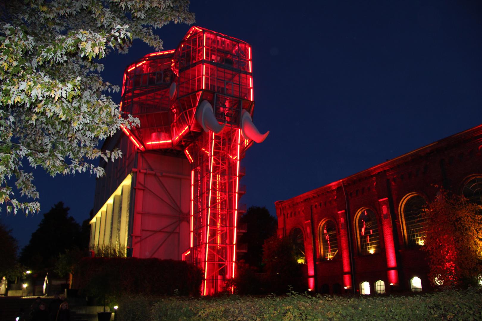 Elefant in Rot