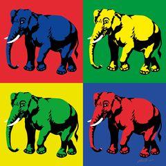 Elefantenherde im Stil von Andy Warhol