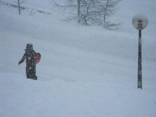 Elle marche sous la neige ...