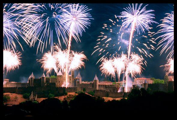 Embrasement de la Cité de Carcassonne, juillet 2004