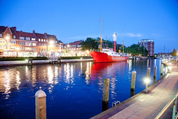 Emden harbour at night, Germany, Europe, North Sea