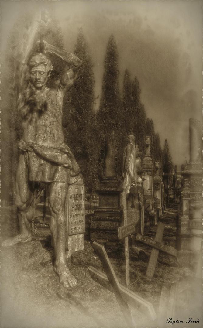 En el cementerio