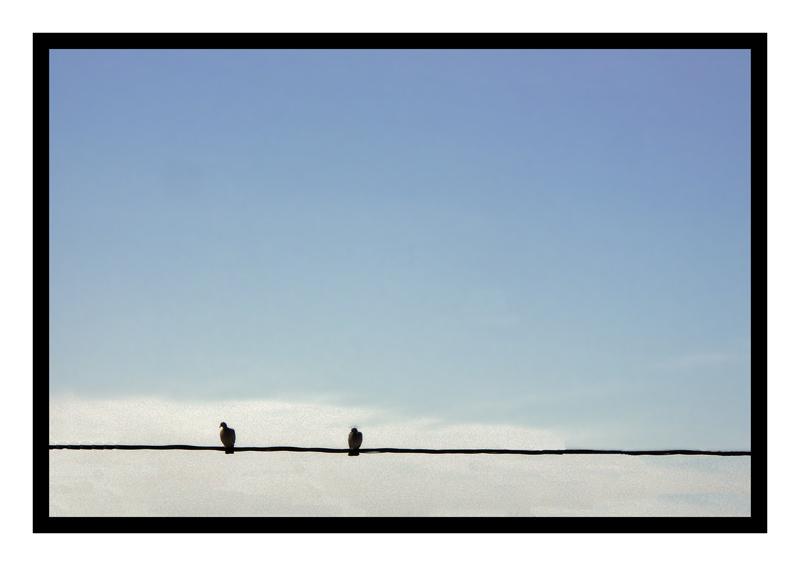 En équilibre fragile sur le fil, profité à deux, du ciel tant qu'il est bleu
