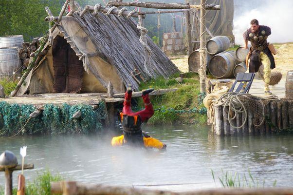 En pleine action, flotter sur l'eau!