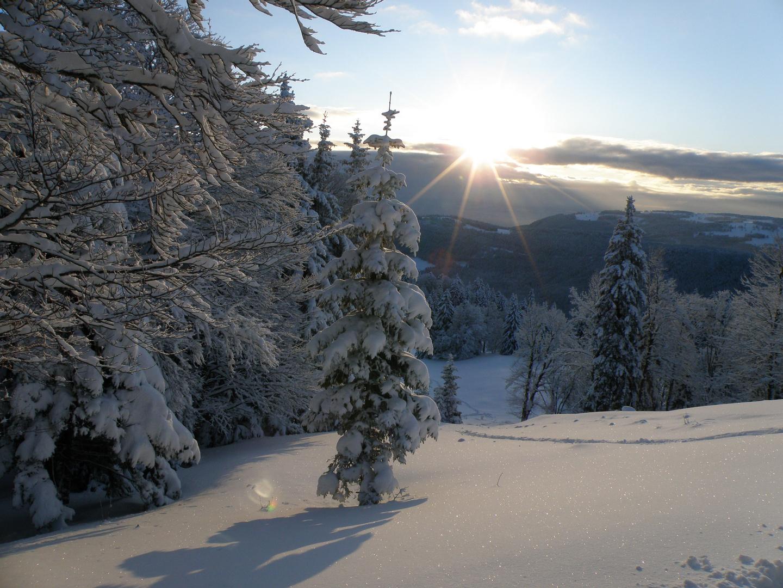 En quittant la Suisse près du refuge de la Cabane. Au petit matin...!