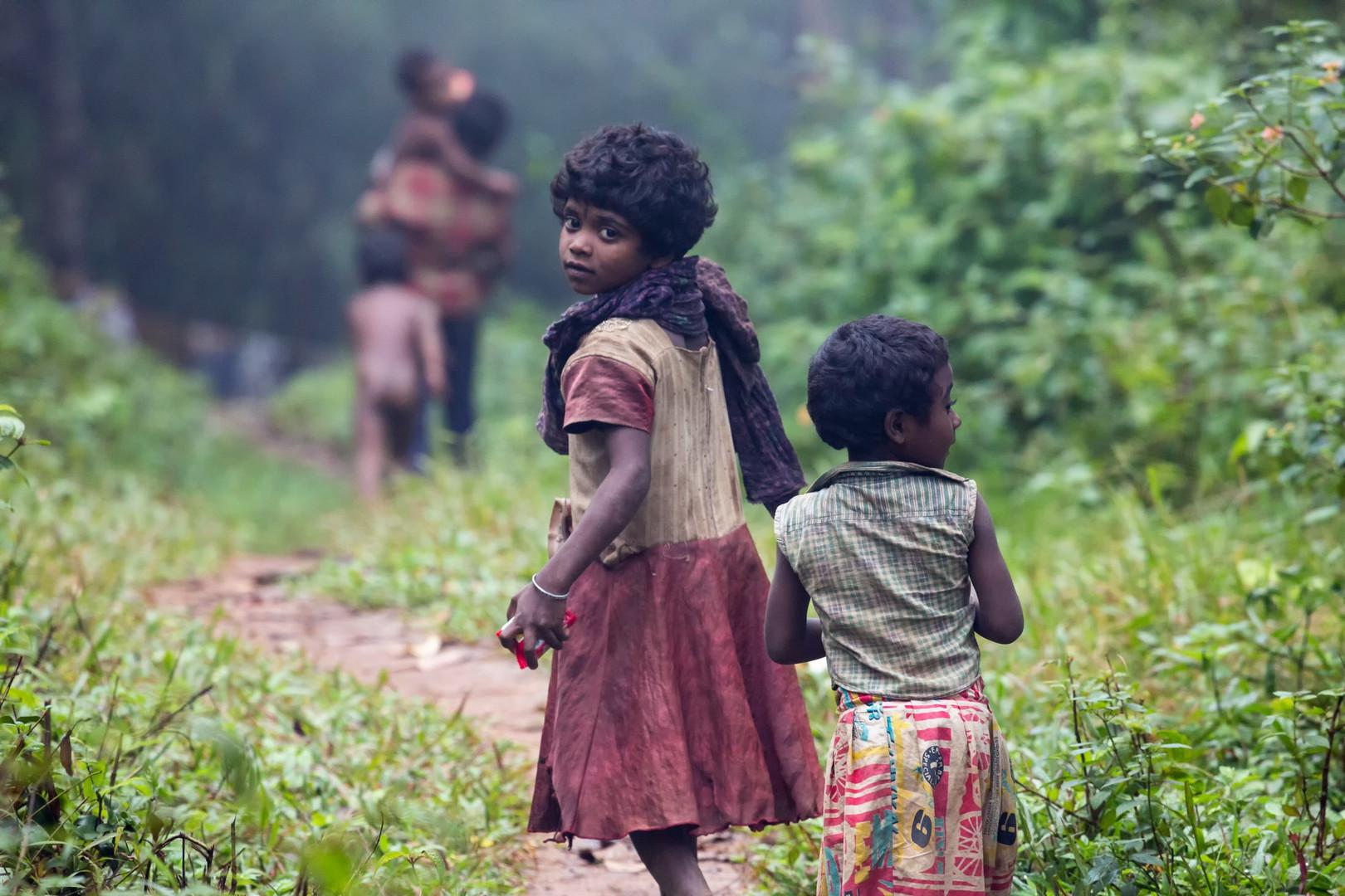 Enfants vivant dans les forêts des Western Ghats