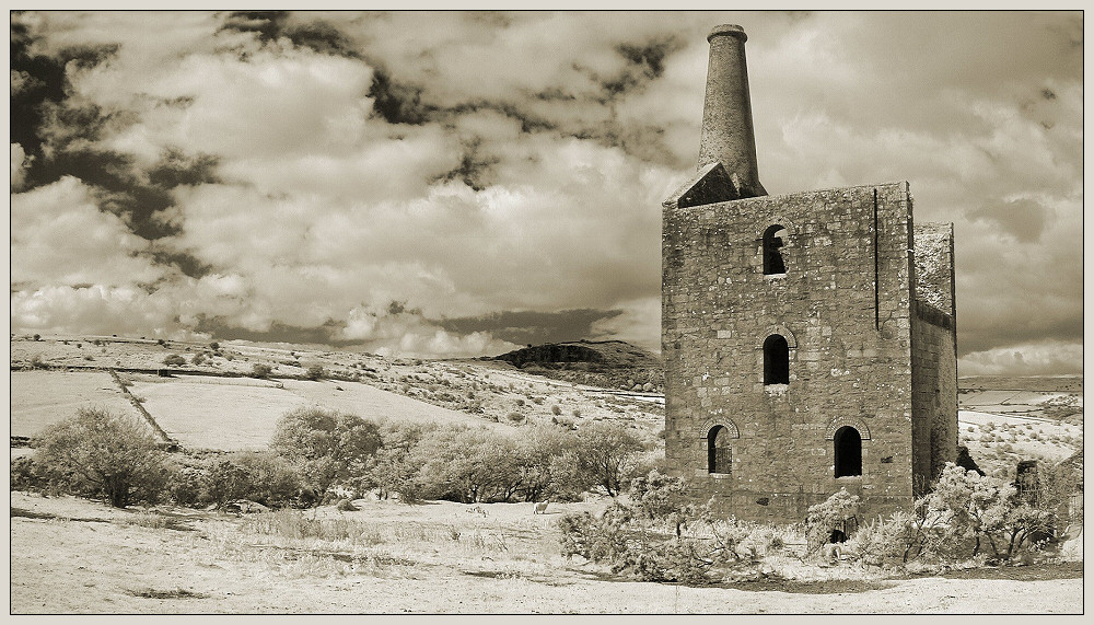 Engine house and one sheep.