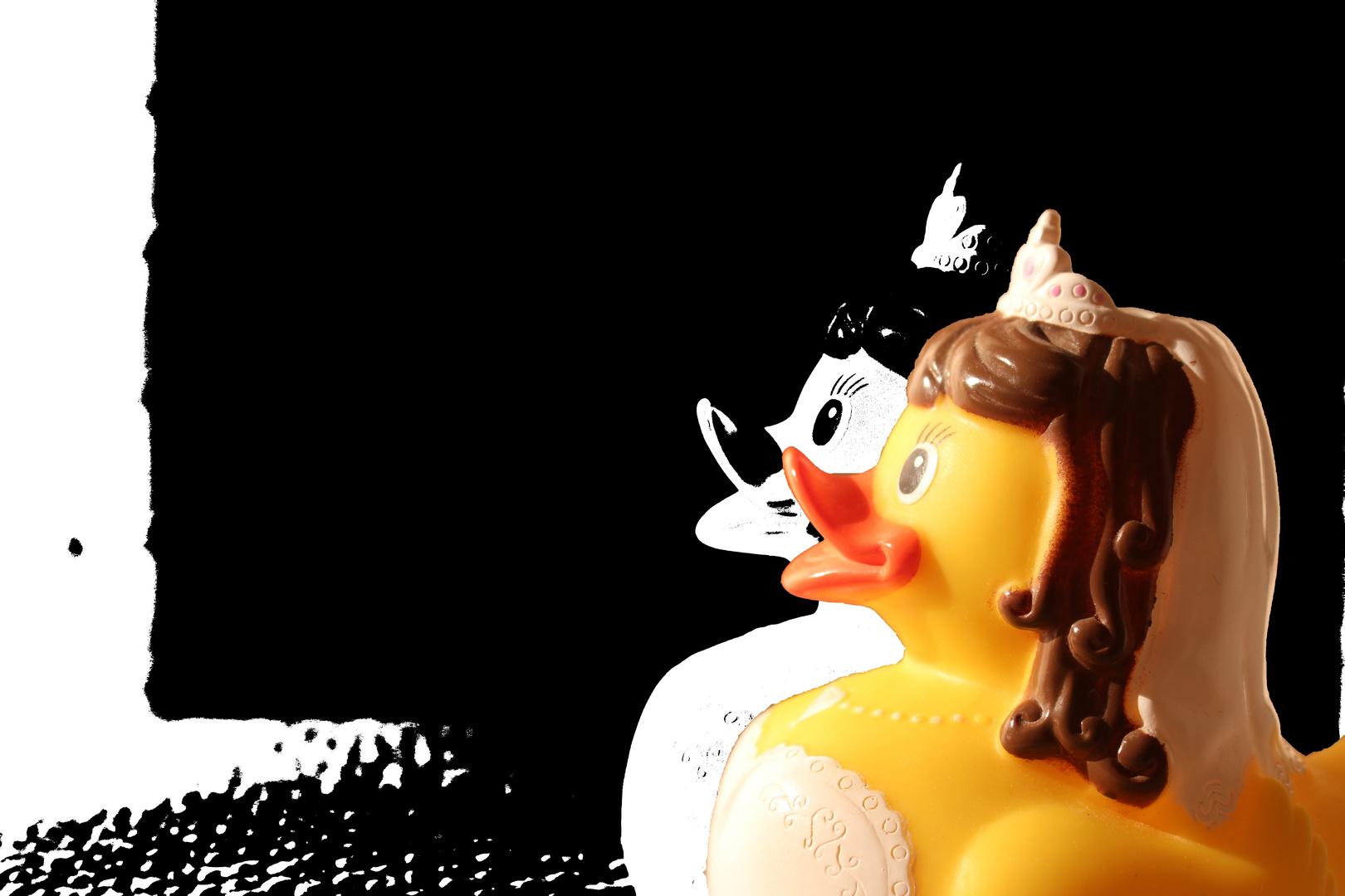 Entenfrau freut sich