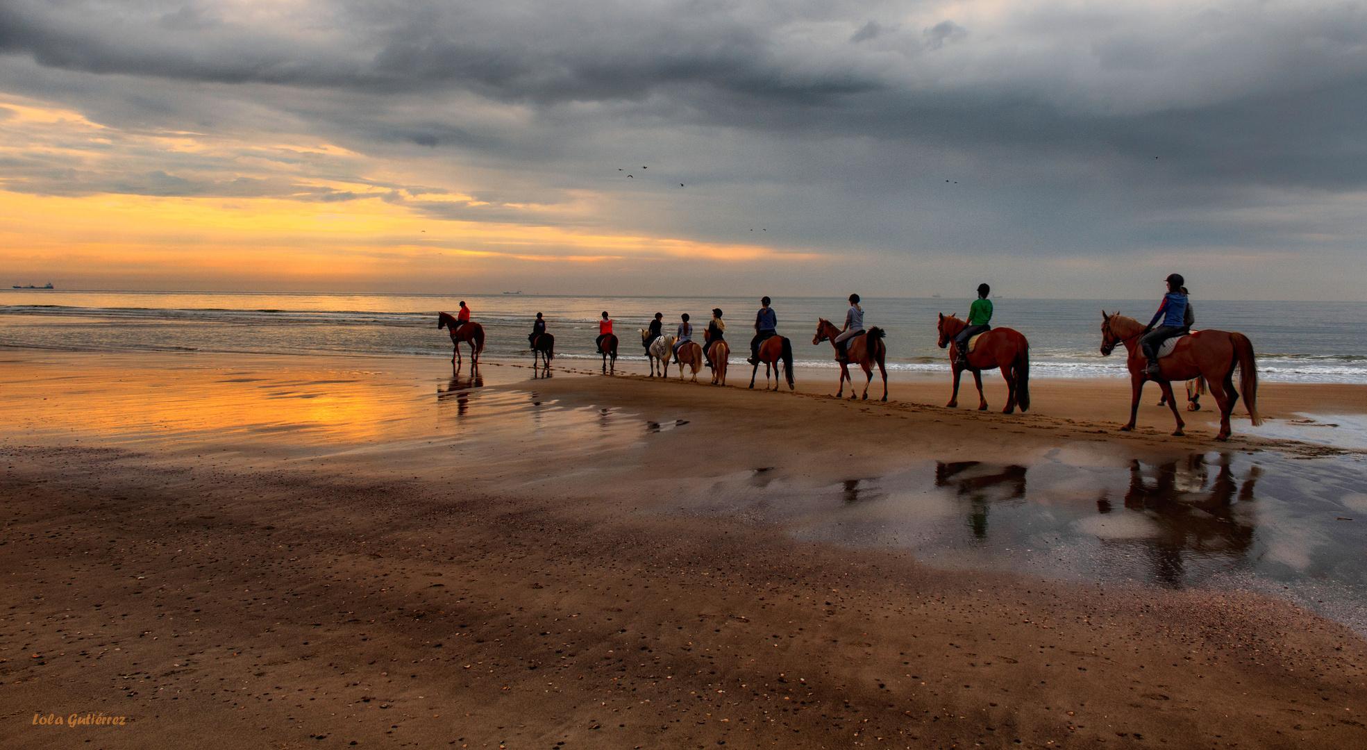 Equitación al borde del mar