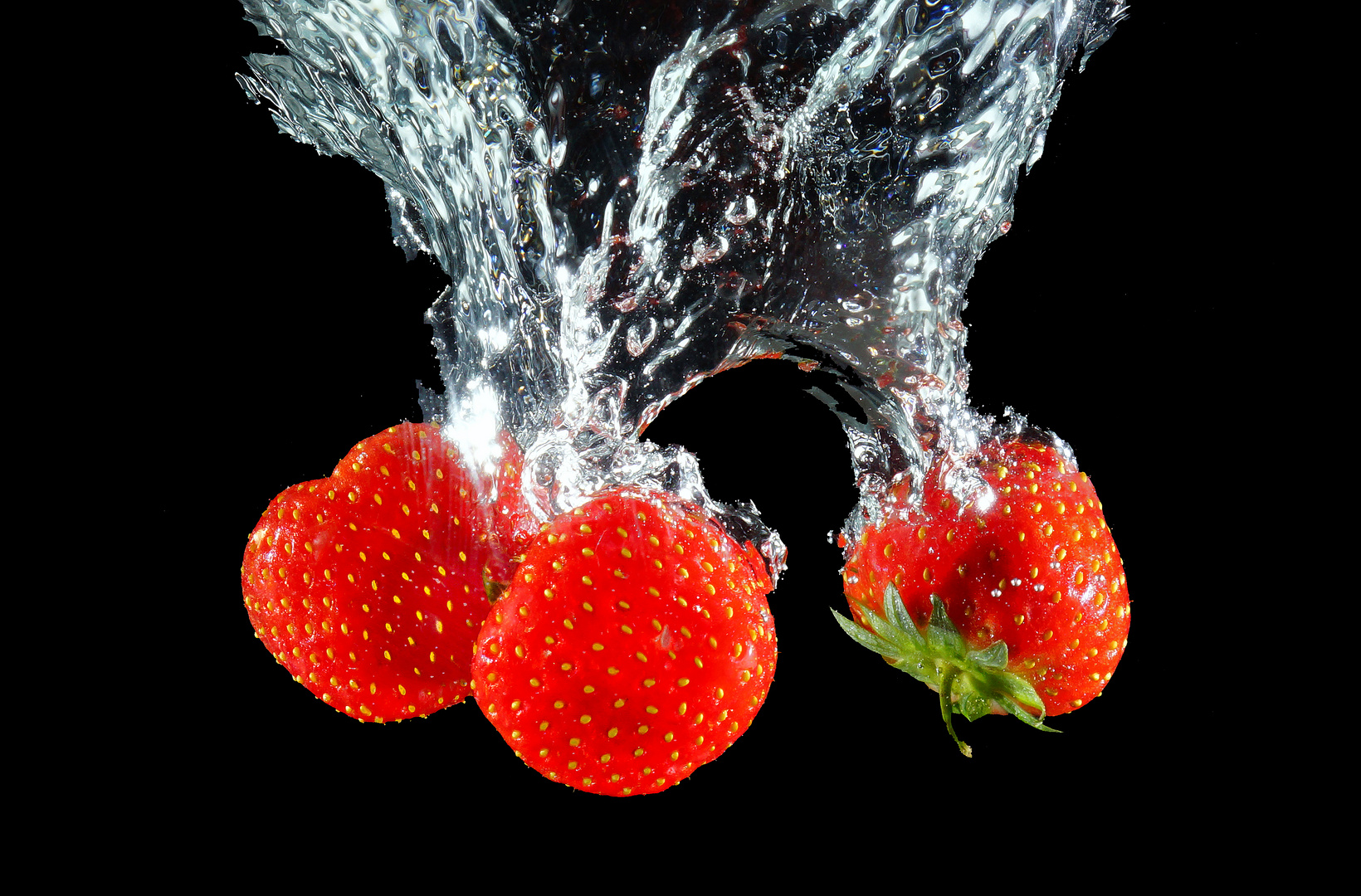 Erdberren im Wasser