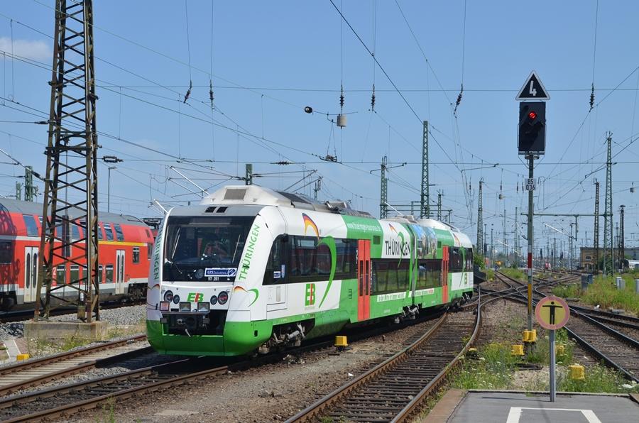 Erfurter Bahn fährt aus dem Leipziger Hbf aus