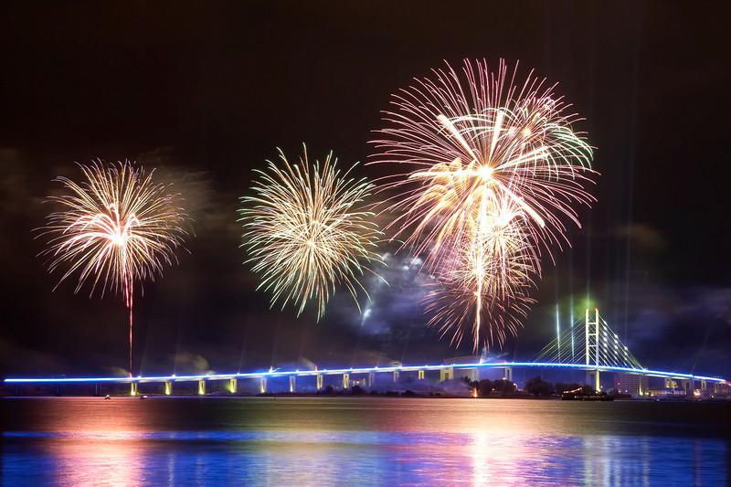 Eröffnung der Rügenbrücke, Feuerwerk
