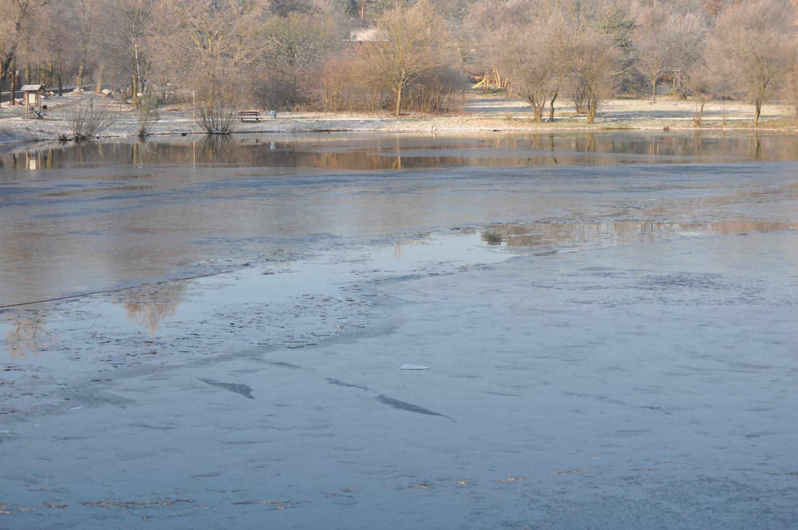 Erstes Eis auf dem Teich