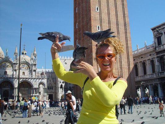 es gibt nicht nur graue Tauben in Venedig