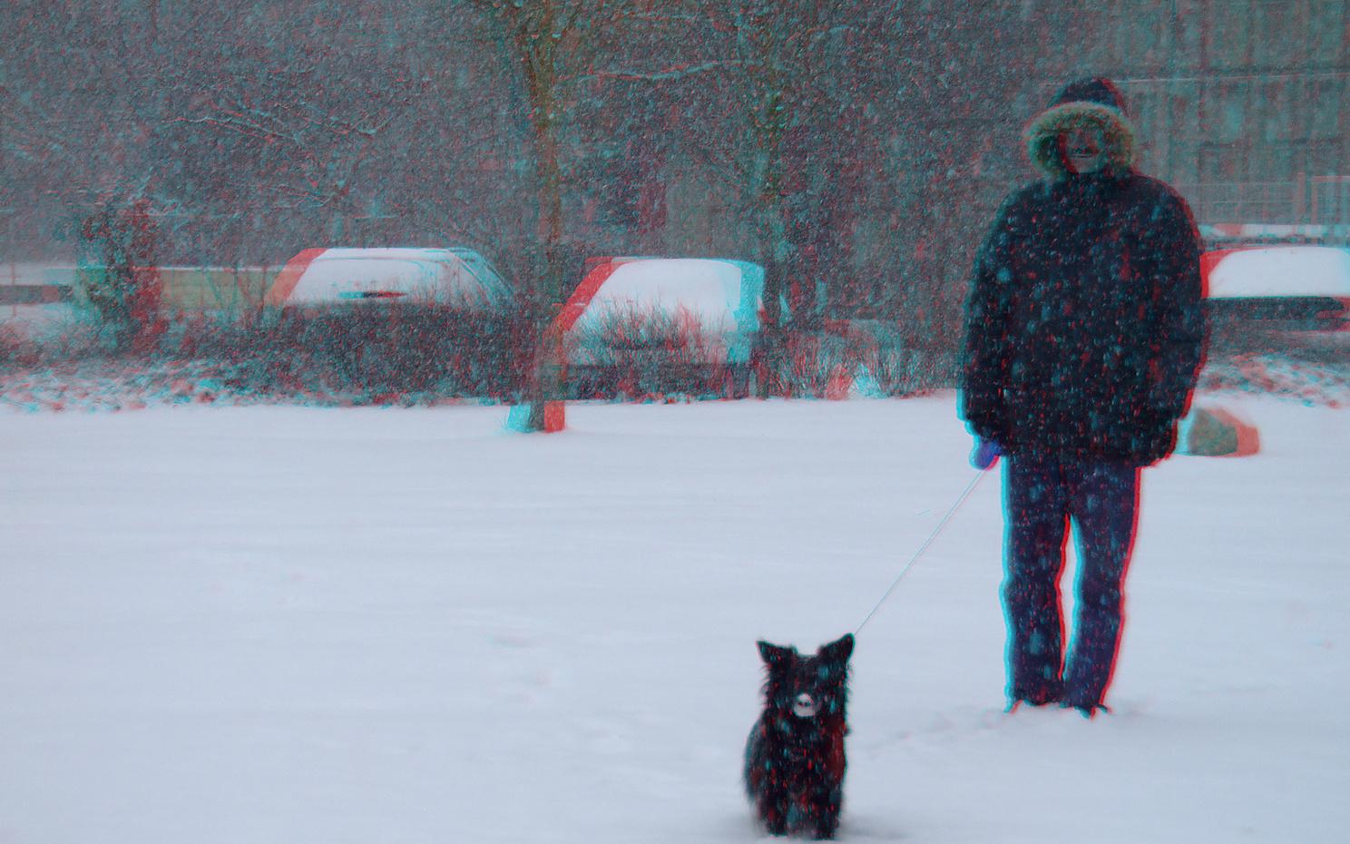 es schneit (3D-Foto)