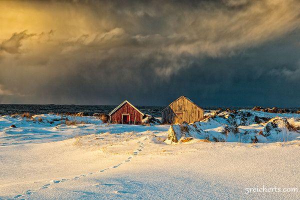 es schneit auf den Lofoten...