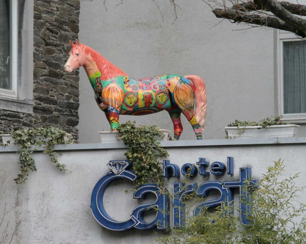 es steht ein Pferd auf dem ......