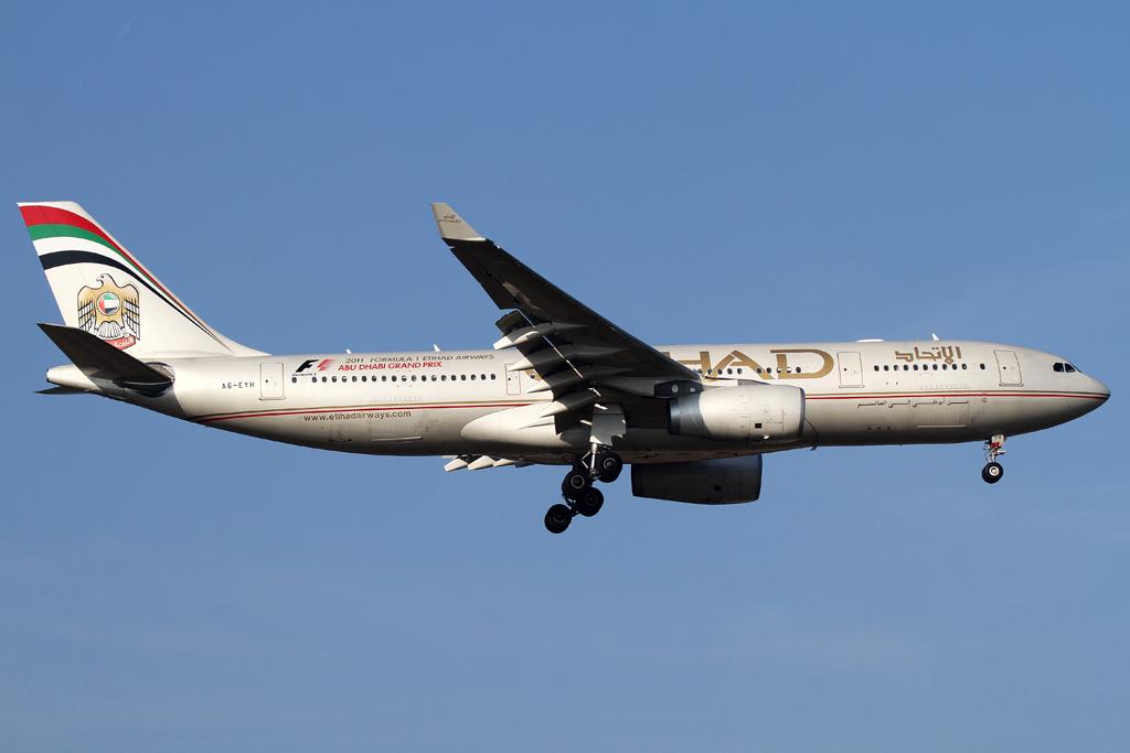 Ethiad A330 im Anflug auf die rwy 07L