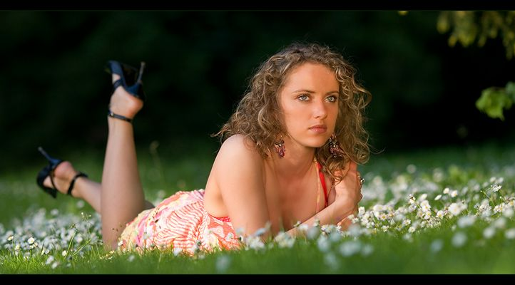 Evelina and her daisies...