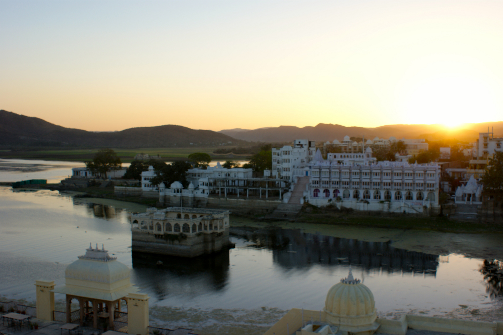 Evening at Lake Pichola, Udaipur, seen from the Terrace of Tiger Hotel