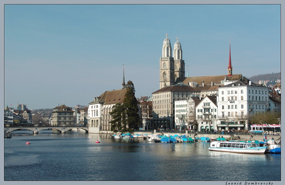 Evening view of Zurich