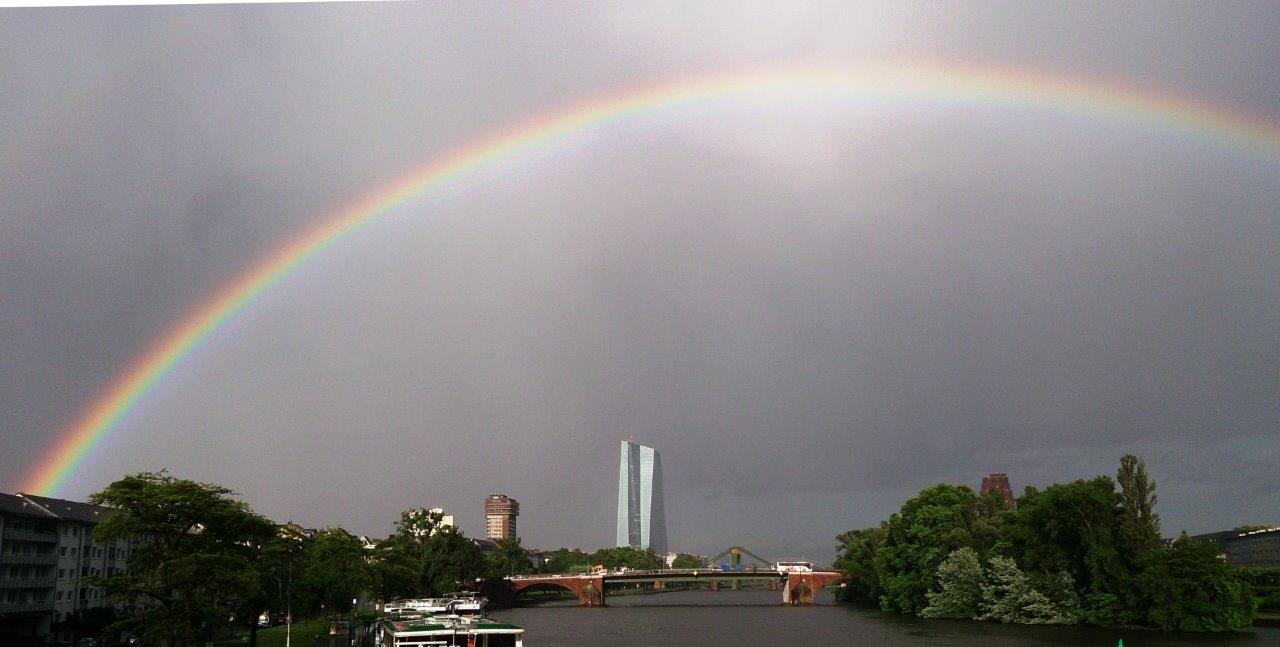 EZB Frankfurt bei Regen