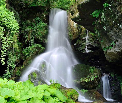 F 11 drücken Vollbild. Lichtenhainer Wasserfall  in der Sächsischen Schweiz.