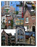 Façades du quartier Montjoie, Uccle, Bruxelles (photo-montage)