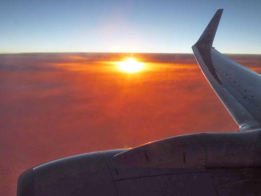 Fabuleux coucher de soleil entre Dallas et Guatemala City