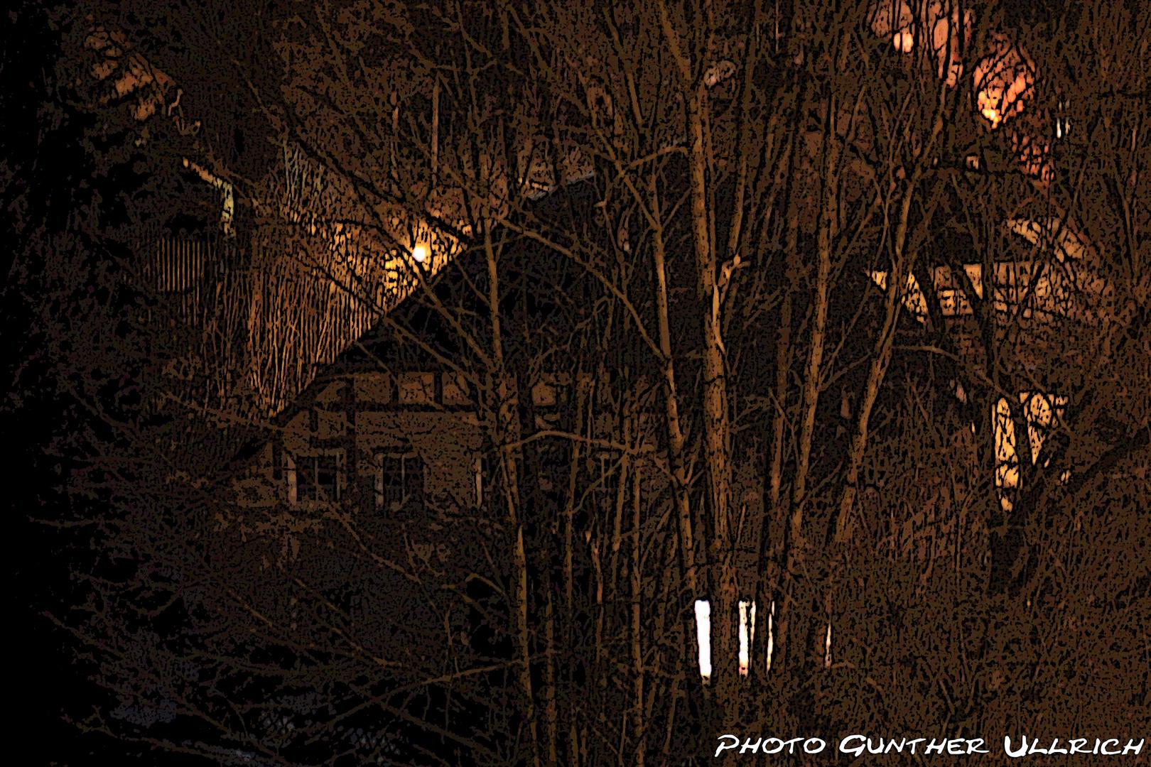 Fachwerkhaus in einer Winternacht