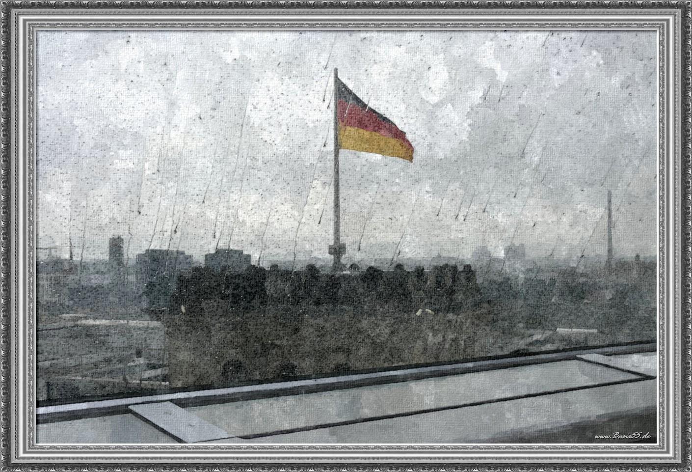 Fahne Reichstag bei Regen