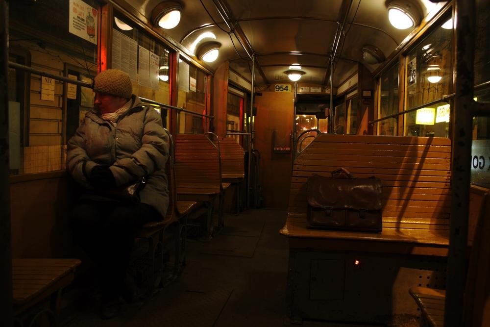 Fahrt mit der  Straßenbahn .