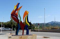 Farbige Metallskulptur...