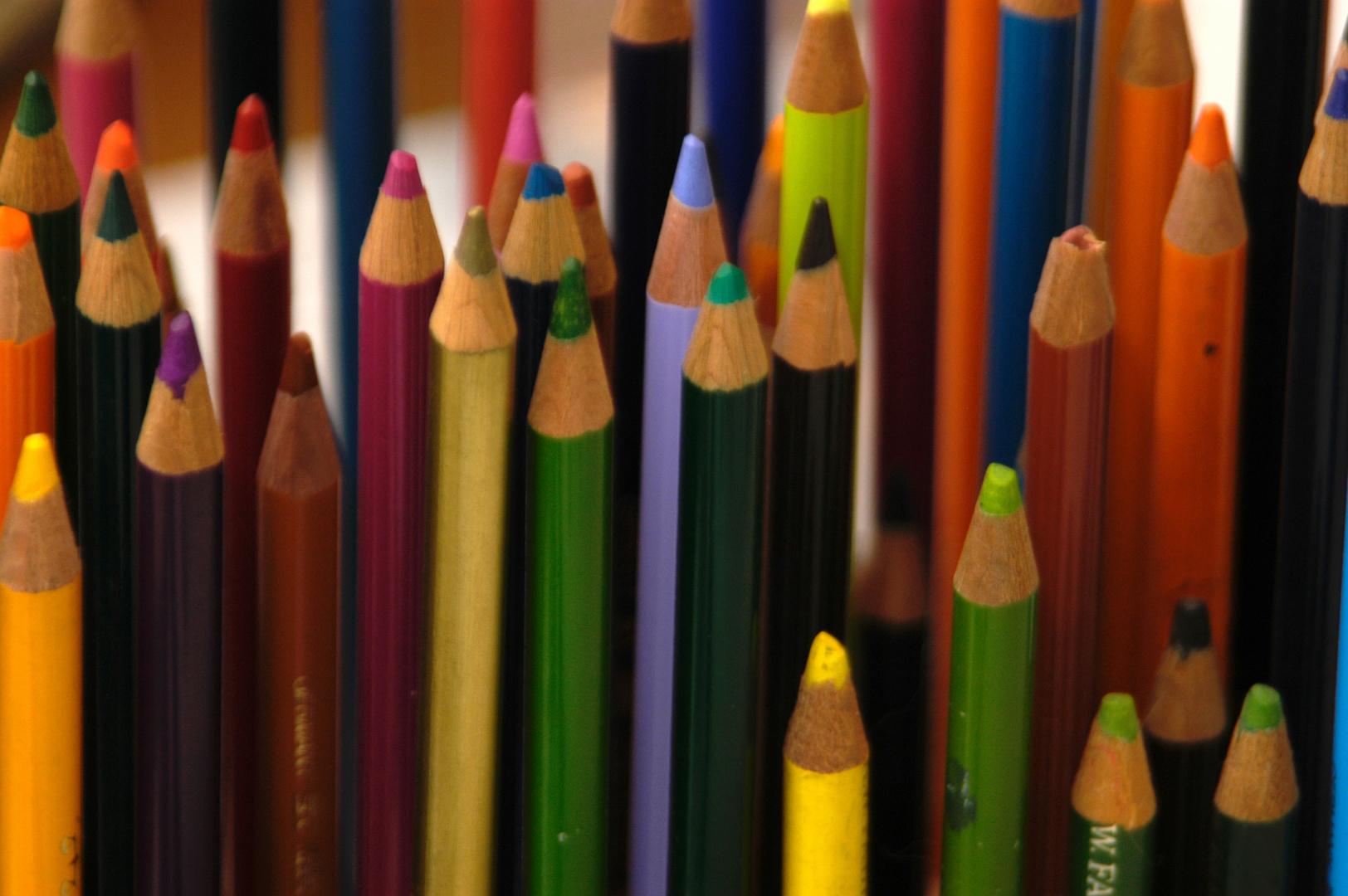 Farbstifte im Gebrauch