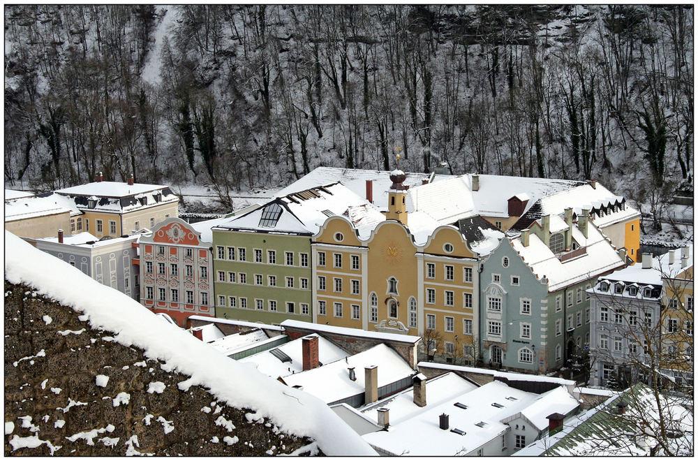 Fassaden-Blick von Burghausens Burg