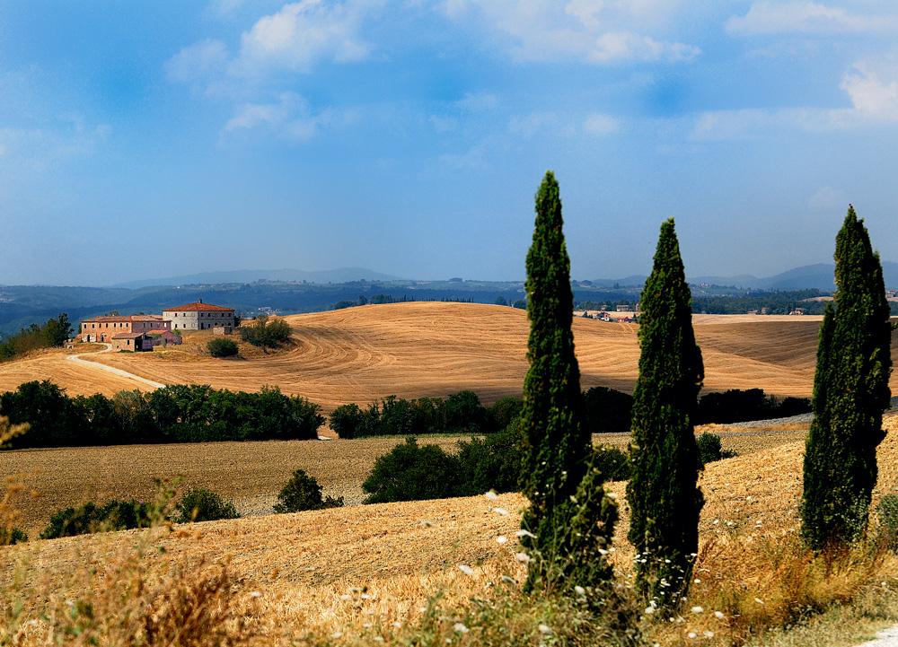 Felder mit Hof in der Toskana