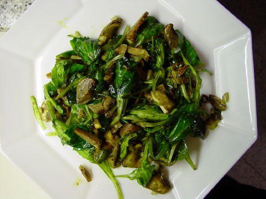 Feldsalat mit Pilzen, Walnussöl und reichlich Knofi