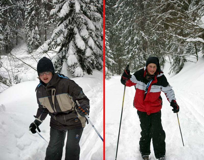 Felix und Christoph bei ihrem ersten Langlauftest