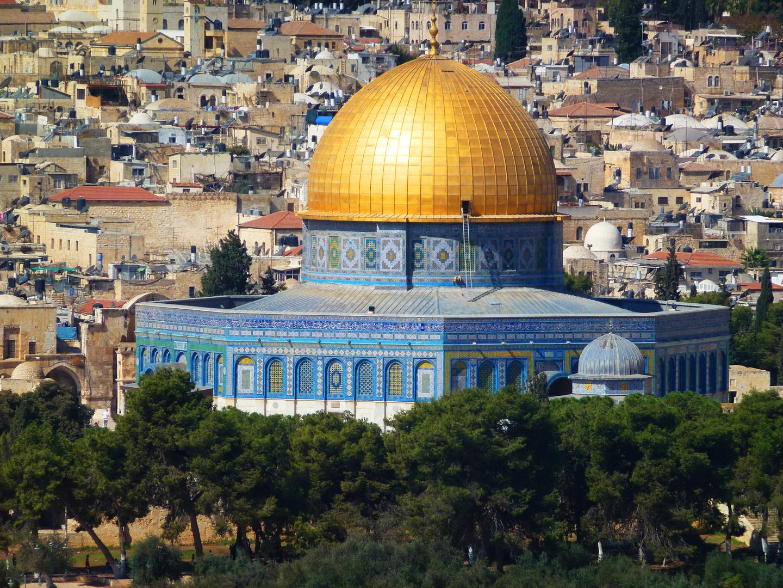 Felsendom auf dem Tempelberg vor der Altstadt Jerusalems
