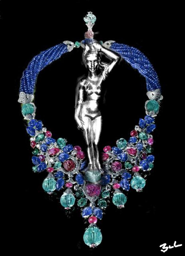 Femme de métal au collier précieux
