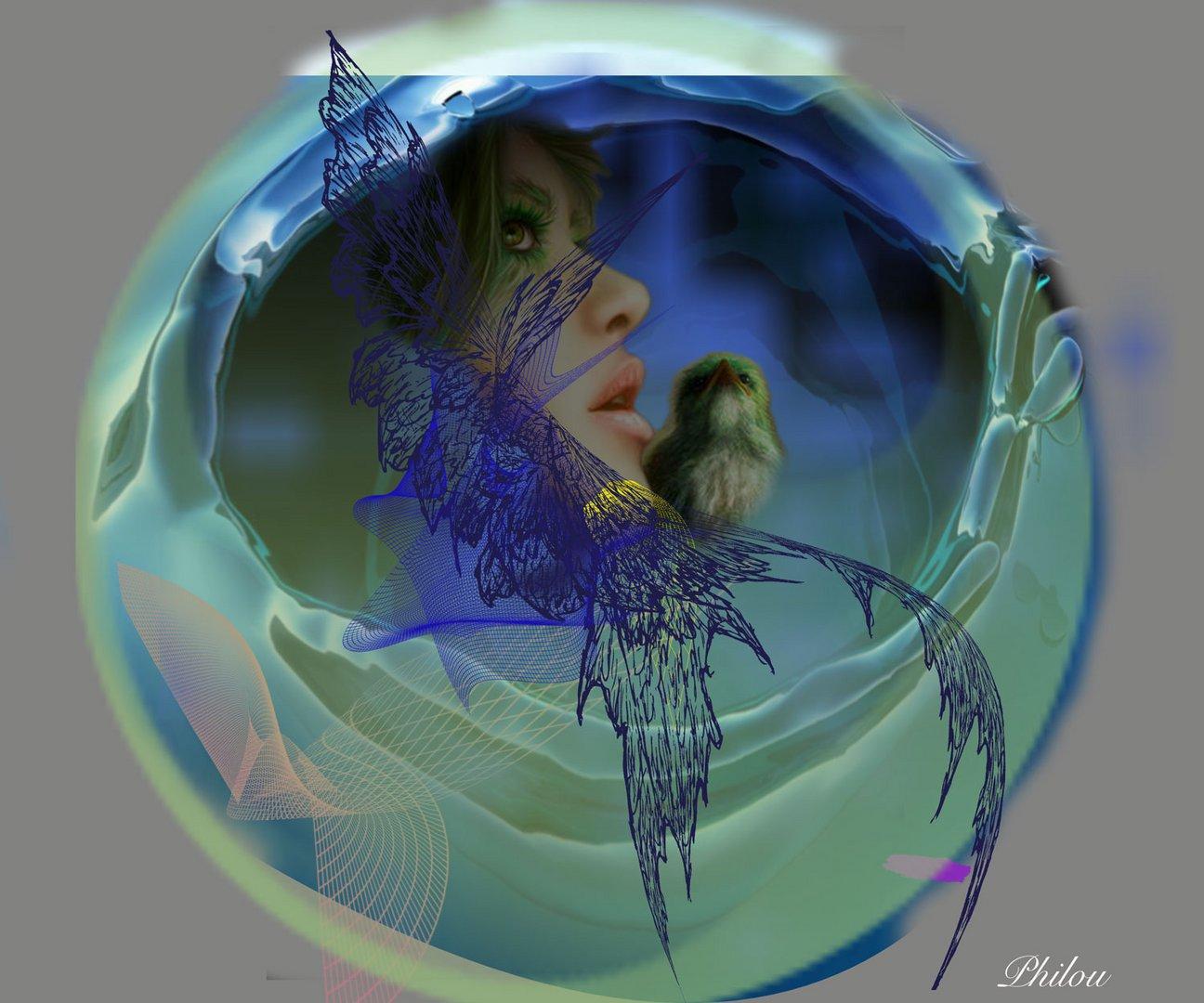 Femme et oiseau