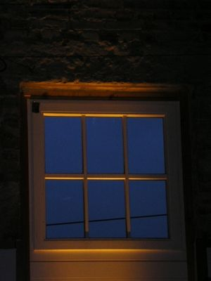 Fenster eines Restaurants auf Rügen